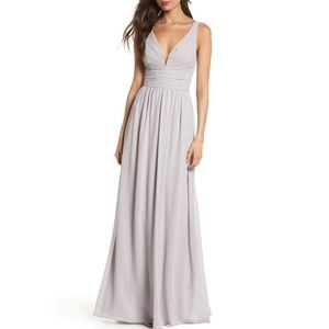 V-Neck Chiffon Gown LULUS
